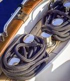 在甲板的系船柱 图库摄影