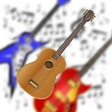 在电吉他背景的声学吉他  库存照片