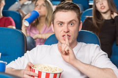 在电影院的沈默 库存照片