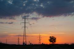 在电源杆、树和飞机的日落 免版税库存图片