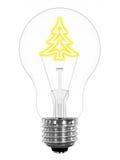 在电灯泡闪耀的结构树里面的圣诞节 库存照片