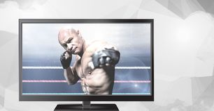 在电视上的混杂的武术战斗机 免版税库存图片