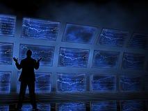 在电视上的股市图表 免版税库存照片