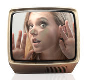 在电视困住的秀丽 库存图片