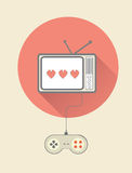 在电视的减速火箭的电子游戏与控制器 库存照片
