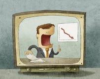 在电视的商业新闻 免版税库存照片