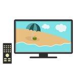 在电视的海滩 免版税库存图片