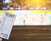 在电视背景的编辑票的展示排球,打赌的体育,排球 免版税库存照片
