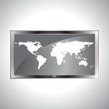 在电视LCD传染媒介的世界地图 图库摄影