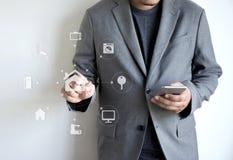 在电话房地产conce的系统app遥远的家庭控制系统 免版税库存照片