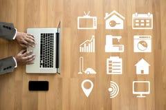 在电话房地产conce的系统app遥远的家庭控制系统 免版税图库摄影
