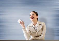 在电话的事务 免版税库存图片