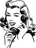 在电话的逗人喜爱的Gal 向量例证