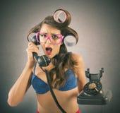 在电话的闲话 免版税库存照片