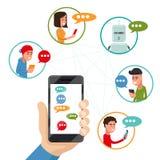 在电话的青少年的朋友闲谈 导航在平的样式的友好的谈论的传讯智能手机 库存图片