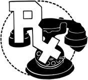 在电话的RX标志 库存照片