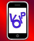 在电话的Voip显示在互联网协议的声音 免版税图库摄影