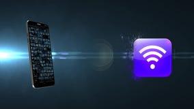 在电话的Wi-Fi 电话的家庭互联网 访问接入点 向量例证