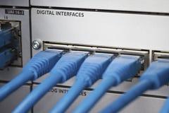 在电话总机的缆绳 库存图片