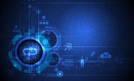 在电路板、例证高计算机和通讯技术的抽象未来派眼珠在蓝色颜色背景