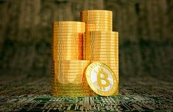在电路板布局- 3D的金黄Bitcoin翻译 库存图片