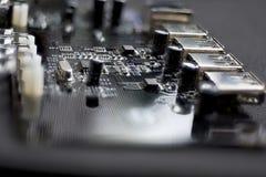 在电路板的轻的散发的二极管 免版税库存照片