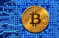 在电路板的Bitcoin 库存图片