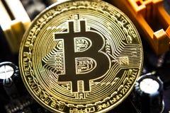 在电路板背景的金黄Bitcoin真正货币 免版税库存图片