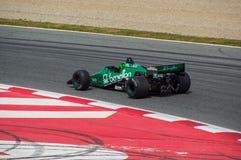 在电路de巴塞罗那,卡塔龙尼亚,西班牙的Tyrrell 012 库存照片
