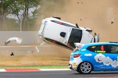 在电路de Catalunya的车祸 库存图片