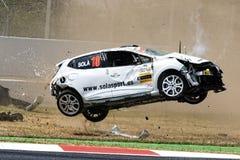 在电路de Catalunya的车祸 免版税库存照片
