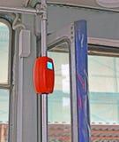 在电车扶手栏杆的Validator 库存照片