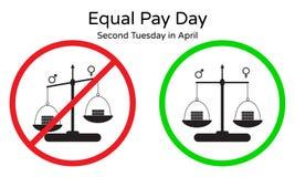 在男人和妇女之间的没有不平等薪水 导航等额支付天的例证在第二星期二在4月 红色和绿色标志, sym 免版税库存图片