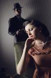 在男人和妇女之间的冲突 图库摄影