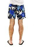 在男性的腿的特写镜头简而言之和触发器从后面 库存照片