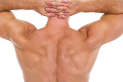 在男性肌肉返回的特写镜头 免版税库存图片