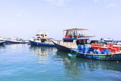 在男性,马尔代夫的捕鱼港口 免版税库存照片