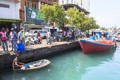 在男性,马尔代夫的捕鱼港口 免版税库存图片