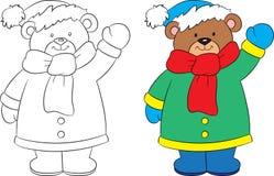 在画一个逗人喜爱的小的玩具熊,黑白和颜色前后,在冬天,儿童的彩图的理想 向量例证