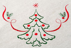 在画布的圣诞树 免版税库存照片