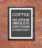 在画框写的不切实际的咖啡 免版税库存图片