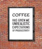 在画框写的不切实际的咖啡 图库摄影