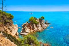 在略雷特德马尔肋前缘Brava的Platja Fenals海滩 库存照片
