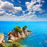 在略雷特德马尔肋前缘Brava的Platja Fenals海滩 免版税图库摄影