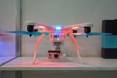 在番红花商展的Quadcopter 免版税库存图片
