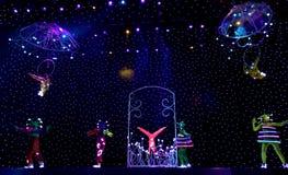 在番红花香港大会堂莫斯科的新年展示Neznaika 图库摄影