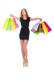 在疯狂购物以后的妇女 库存图片