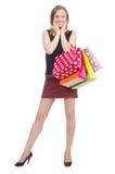 在疯狂购物以后的妇女 免版税库存照片
