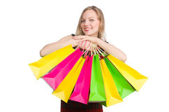 在疯狂购物以后的妇女 免版税库存图片