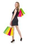在疯狂购物以后的妇女 免版税图库摄影